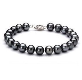 """Imágenes de mayor venta Al Por Mayor con encanto 7-8mm de agua dulce Negro perla bracelet jewelry design 7.5"""""""
