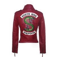 River Valley Town Leather Snake Bang Jacket Spring Leather Women PU Washed Leather Motorcycle Women's Slim Short fashion Jacket