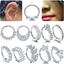 1PC 20G Copper Real Pierced Septo Nose Septum Rings CZ Gem Cartilage Tragus Hoop Daith Rook Ear Helix Clicker Piercings Jewelry(China)