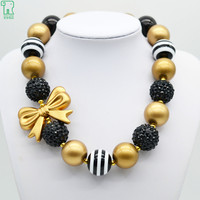 Children Girls Gold Bow Necklace 2015 New Fashion Princess Black Gold Bubblegum Beads Necklace Kids Chunky