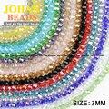 Bola Facetado perlas de cristal Austriaco 3mm 200 unids esfera Redonda de calidad Superior cristalino de la forma del grano Flojo para la joyería que hace pulsera DIY