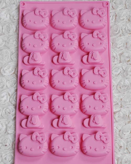 15 grade gato dos desenhos animados olá kitty silicone biscoito, bolo, fondant, pudim, biscoito, geléia, ferramentas de decoração do bolo de molde de chocolate h24