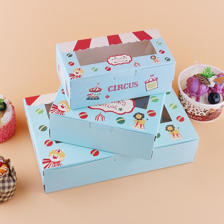 500 pcs Paper box windows kids birthday circus cake kraft gift paper packaging box for food
