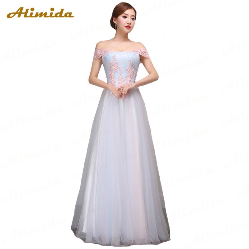 ALIMIDA Long   Evening     Dress   2017 Appliques Lace Prom   Dresses   Off the Shoulder A-Line Party   Dress   Sexy V-Neck robe de soiree