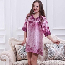 Women's Homewear Sexy Folk Style Silky Short Nightdress Half Sleeve Nightgown Imitation Silk Sleepshirt V-neck Vintage Sleepwear