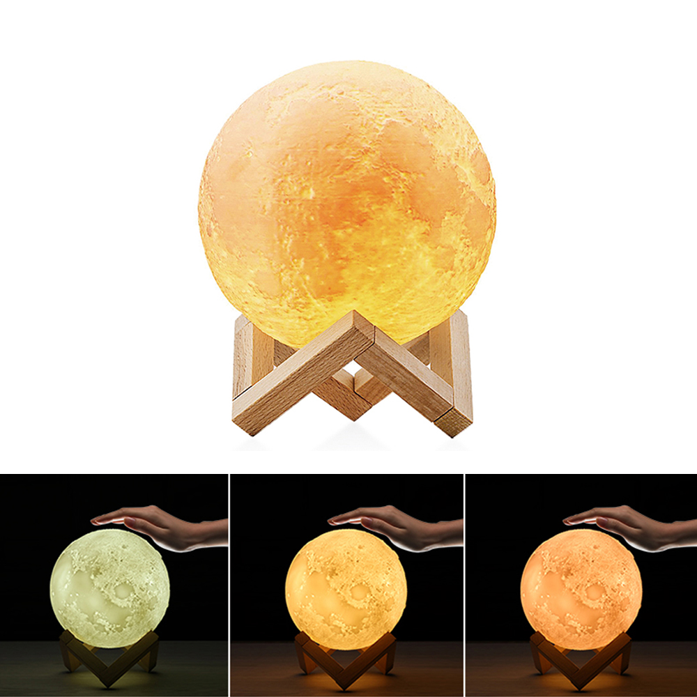 Moon Lamp 3 Colors 3D Printing Moon Light Lunar Night Lamp Dimmable Touch Control Home Decorative Light Baby Lover Gifts Lover