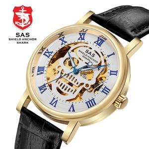 Image 3 - SAS Üst Marka Lüks Erkek mekanik saatler Deri Kayış Erkekler İskelet kol saati Saat relogio masculino