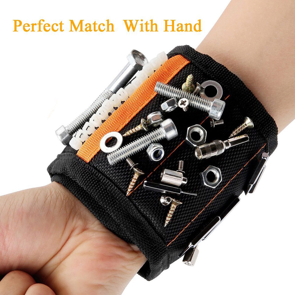 Magnetic Wristband With 10/15pcs Strong Magnets Screw Drill Bits Holder Electrician Tool Belt HYD88