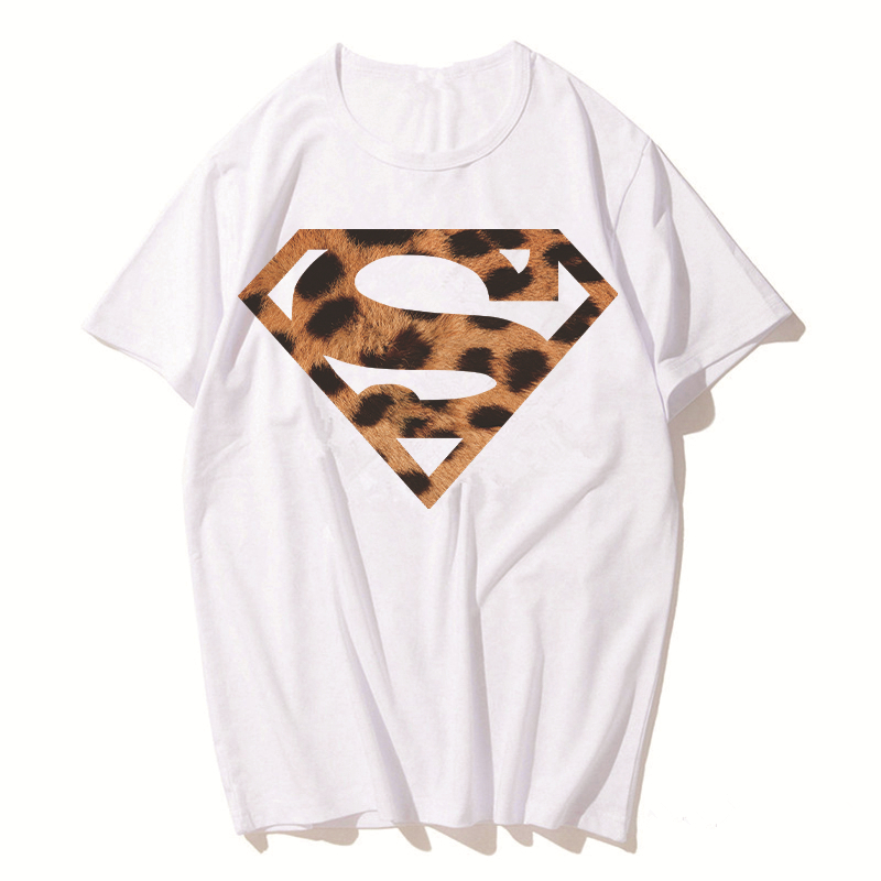 Luslos Hot Fashion Women Summer O-neck Tops Leopard Pattern Superman Print Cool Short Sleeve T Shirt Casual Female Shirts
