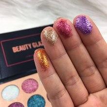 SCHÖNHEIT GLASIERTE Marke 15 Farben Regenbogen Glitters Makeup Lidschatten-palette Diamant Gepresst Glitters Lidschatten-palette Kosmetik