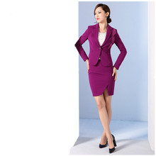 Purple Women Skirt Suits Two-Piece Suits Formal Work Wear Business Skirt Suits Female Office Uniform Ladies Elegant Skirt Suits