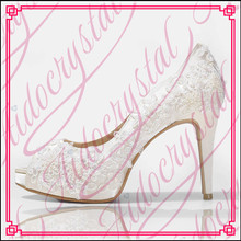 Aidocrystal white lace peep toe elegant high quality ladies high heel shoes for wedding