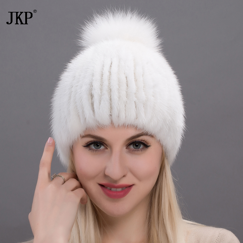 JKP 2018, new hot selling, real mink hat, fox fur ball, top quality luxury, winter women's knitted caps. DHY17-25
