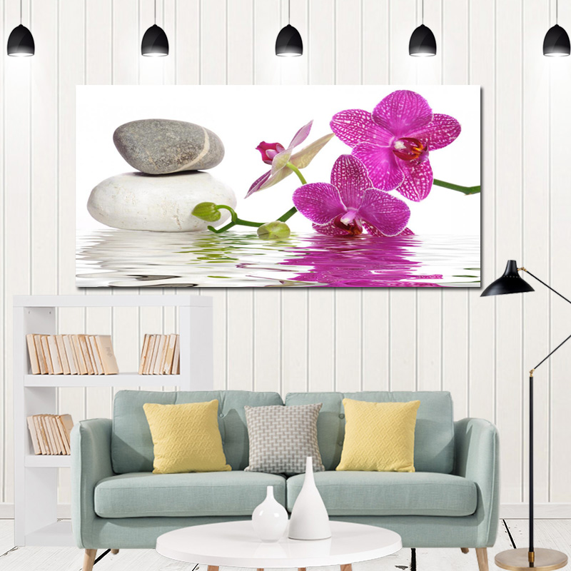 Extra Large Canvas Wall Art Print Picture Japanese Zen Garden Pink Orchid Candle