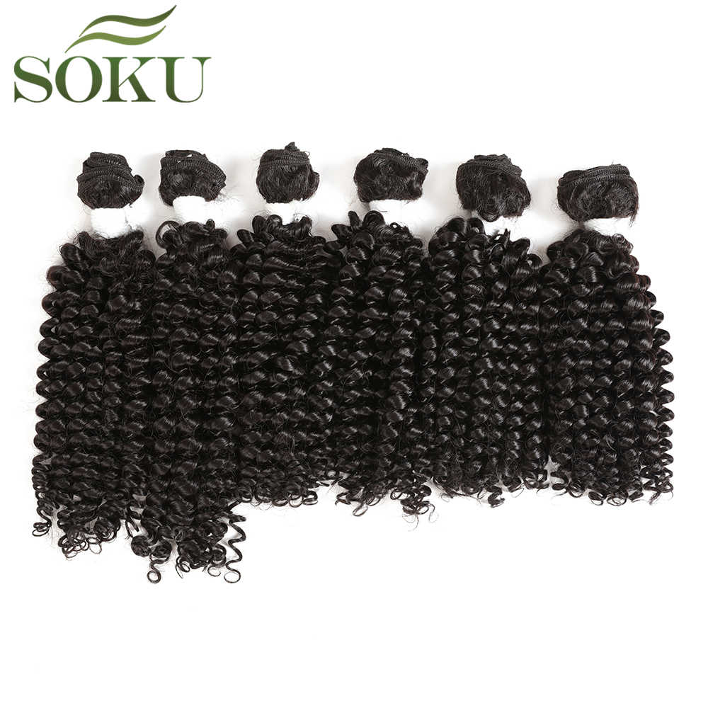 "SOKU Kinky Curly Blend Hair Bundles For Black Women 16""-20"" Synthetic Hair And Human Mixed 6pieces/pack Hair Weave Extension"