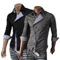 Free shipping new fashion men black shirt placket mixed colors men's long sleeve cardigan oblique