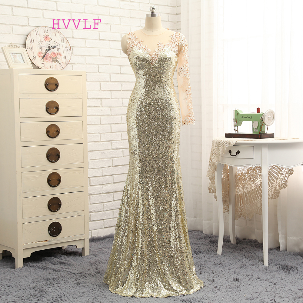 Elegant 2019 Mermaid Long Sleeves Champagne See Through Squins Sparkle Long Evening Dresses Evening Gown Prom Dresses Prom Gown