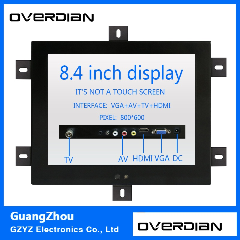8.4/8inch Non-Touch Industrial Control Lcd Monitor/Display VGA/TV/HDMI/AV Interface Metal Shell Fixed Ear Installation 4:3 10 4 10 vga dvi interface non touch industrial control lcd monitor display 1024 768 metal shell hanger card installation 4 3