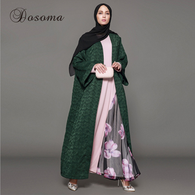 Muslim Dress Abaya Cardigan Silk Jacquard Kimono Jilbab Long Robe ...