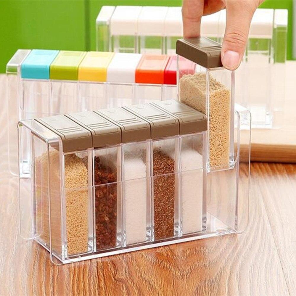 6pcs/set Spice Jar Seasoning Box Kitchen Spice Storage Bottle Jars Transparent PP Salt MSG Pepper Cumin powder Box Tool