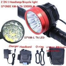 11x T6 Bisiklet Işık Far 13000 Lümen LED Bisiklet Işık Lambası Far + 8.4 V ABD/İNGILTERE/AB/AU Şarj 8800 mAh Pil Paketi