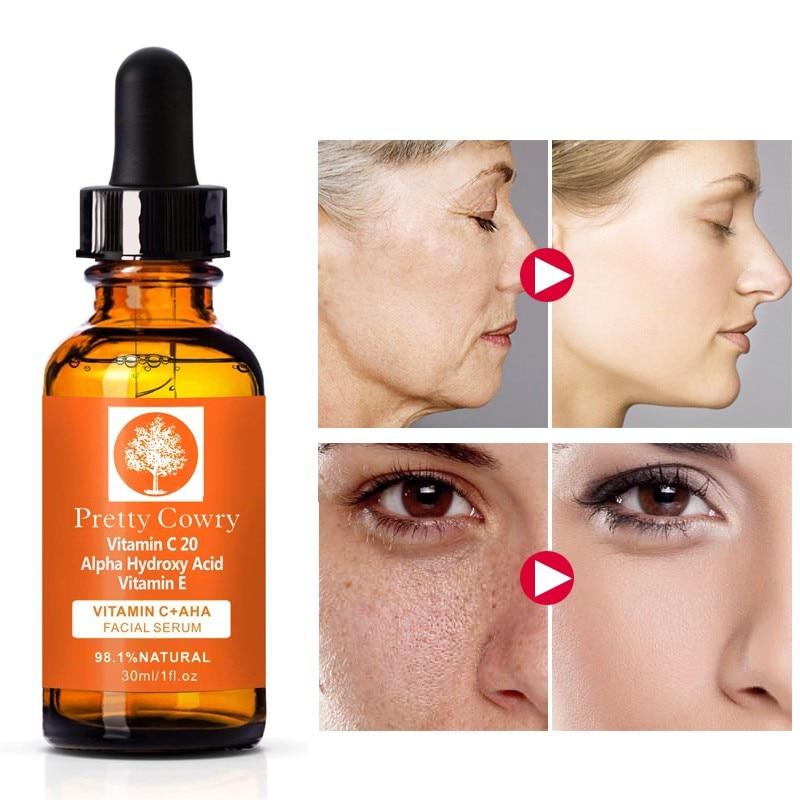 Vitamin C Serum With Alpha Hydroxy Acid & Vit E -Natural & Organic Anti Wrinkle Reducer Formula For Face -Dark Circle Skin Serum