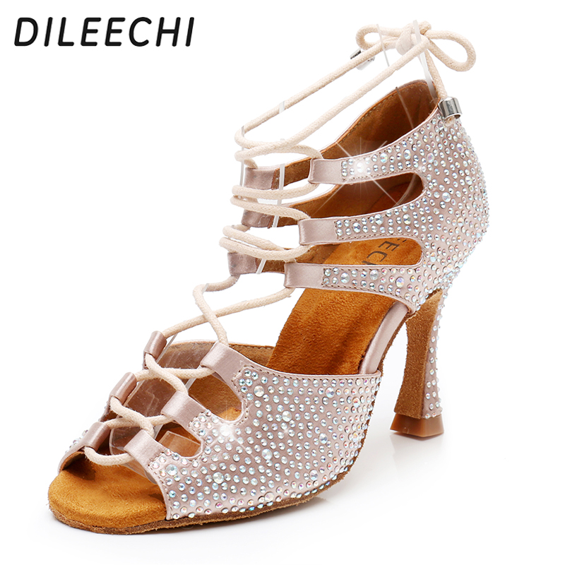 DILEECHI Women Latin Dance Shoes Skin Satin Shining Big small rhinestone dancing shoes Flare heel 9cm Narrow foot Adjust width-in Dance shoes from Sports & Entertainment