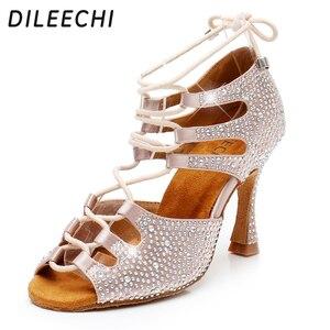 Image 1 - DILEECHI femmes chaussures de danse latine peau Satin brillant grand petit strass chaussures de danse Flare talon 9cm pied étroit ajuster la largeur