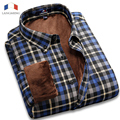 Langmeng 2015 New Arrival Velvet Super Warm Winter Casual Shirts Mens Brand Shirts Men Camisa Masculina Long Sleeved Dress Shirt