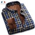 Langmeng 2015 Nueva Llegada de Terciopelo Súper Caliente Del Invierno Casual Camisas Para Hombre Camisas de Marca Hombres Camisa Masculina de Manga Larga Camisa de Vestir
