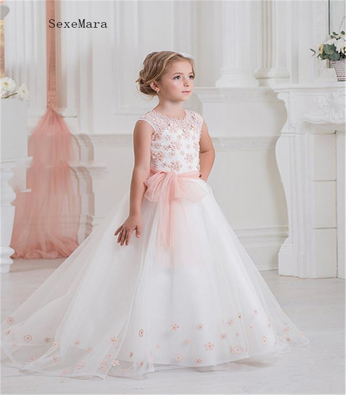 Lovely   Flower     Girls     Dresses   For Weddings With Lace Up Back Pink Floral Appliques Best Birthday Gift Communion Gowns Prom   Dress