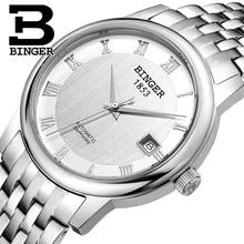 Швейцария БИНГЕР часы мужчины luxury brand Механическая Наручные Часы сапфир полный нержавеющей стали 1 год Гарантия B653-2