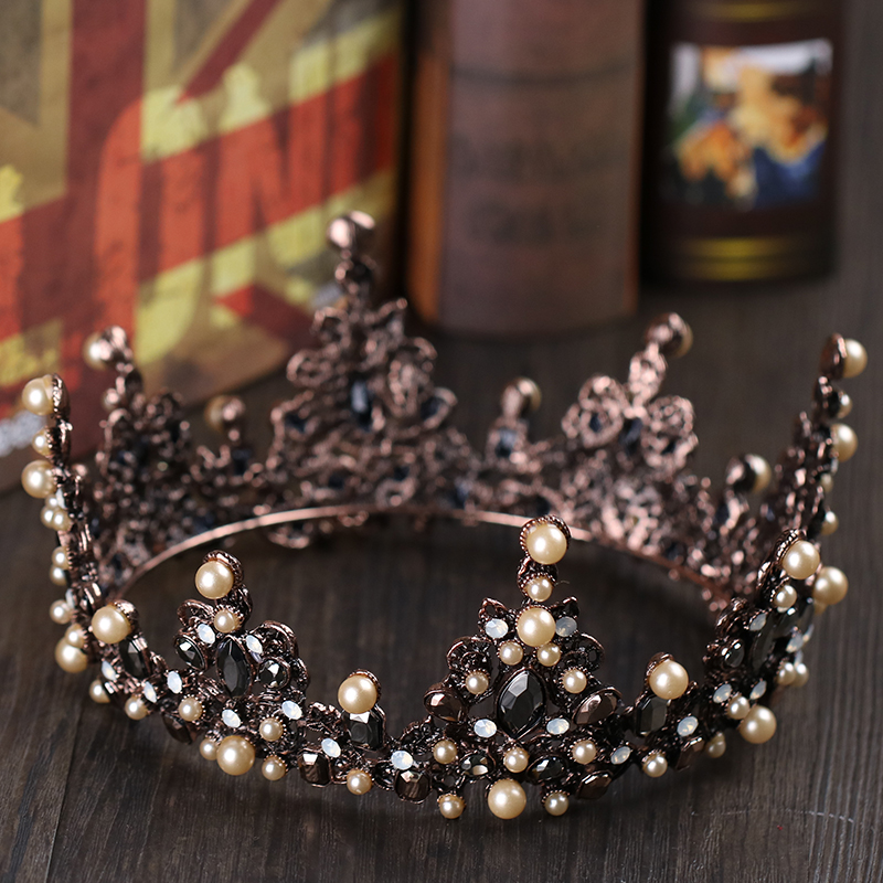 Baroque Vintage Brown Pearl Hair Jewelry Black Crystal Tiaras Crowns For Women Wedding Bridal Big Crown Queen Hair Accessories