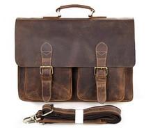 J.M.D  Real Crazy Horse Leather Vintage  Dark Brown Men's  Messenger Bag # 7105B-1
