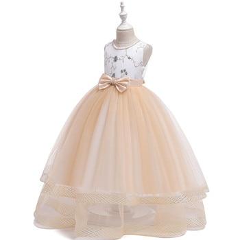 ec87555b0 IYEAL elegante flor chica vestidos de fiesta de boda con faja Apliques de  encaje vestido de fiesta ...