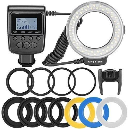 HD 130 48pcs Macro LED Ring Flash Bundle with 8 Adapter Ring for Canon Nikon Pentax