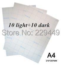 A4 Paper 20 sheets=10 Light+10 Dark Laser Transfer Paper heat transfer paper With Heat Press Heat Transfer Paper For tshirt