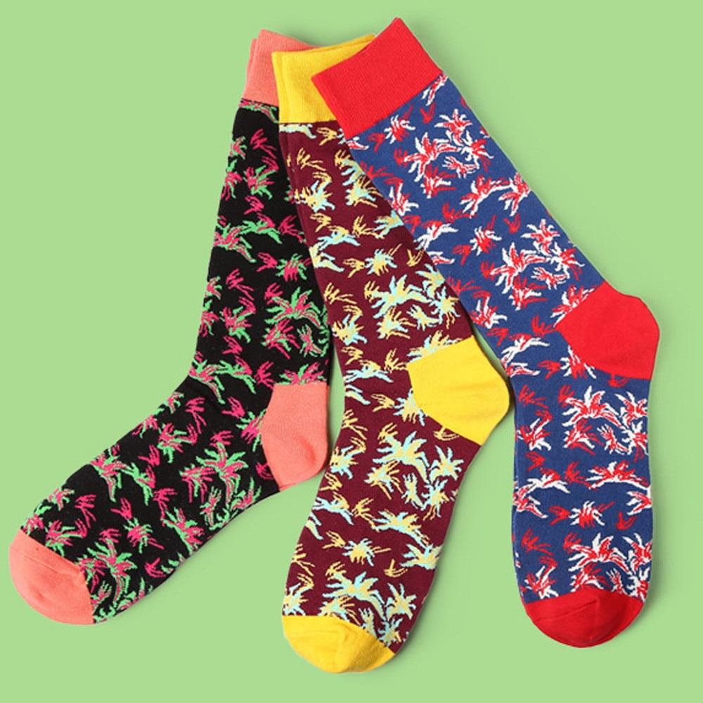 Cotton Men Socks 1 Pair/Lot Spring Hot Quality Casual Pattern Happy Male Socks Comfortable Soft socks men