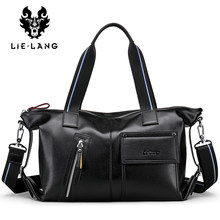 LIELANG Leather travel bag for Men Travel Bags Business Crossbody Bag Men Bag Laptop Black Briefcase Bag for Male Handbags(China)
