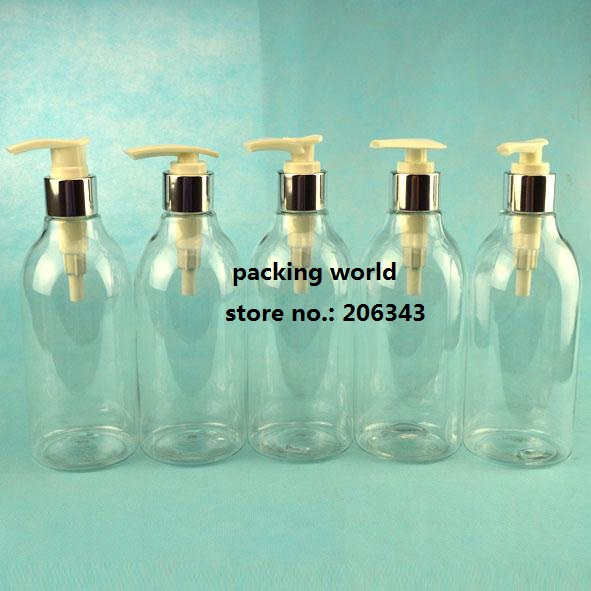300ml transparent PET bottle, plastic bottle with press pump silver collar for lotion/emulsion/shampoo/body lotion packing