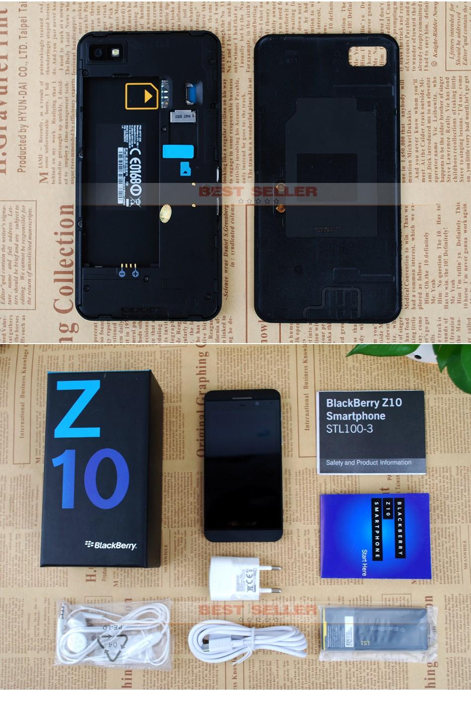 Unlocked Original Blackberry Z10 3G 4G Smartphones NFC GPS WIFI 4.2 inch Touch Mobile Phones 2+16GB white 5
