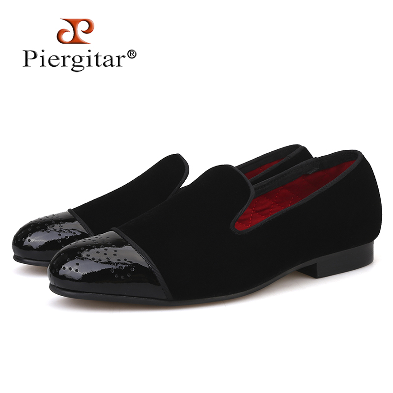Piergitar new style Patent leather toe with Bullock punch Handmade men velvet shoes wedding and party
