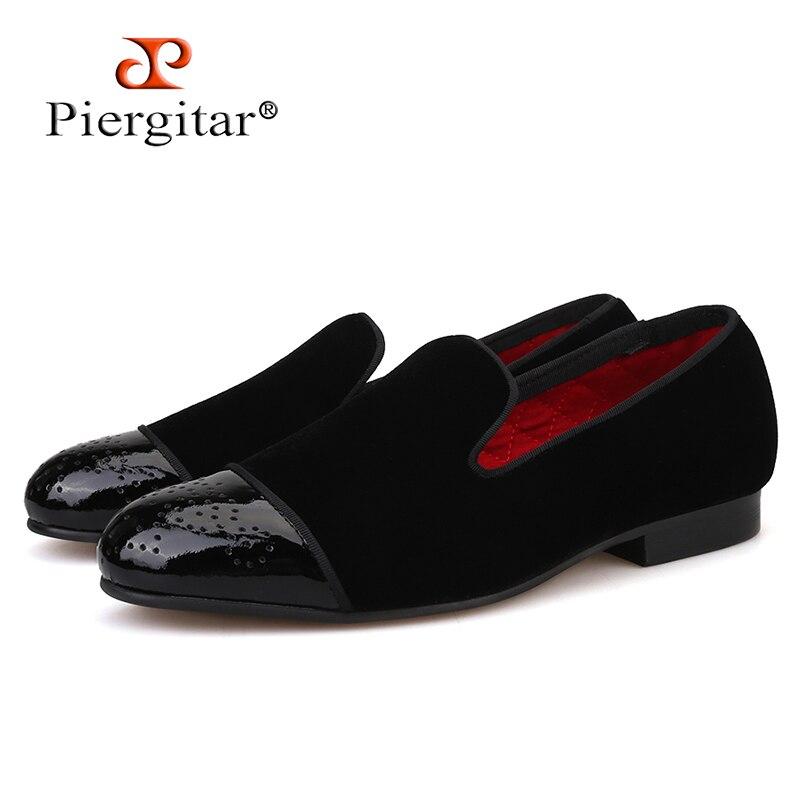 Piergitar สไตล์ใหม่สิทธิบัตรหนัง toe กับ Bullock punch Handmade ผู้ชายกำมะหยี่รองเท้างานแต่งงานและพรรคผู้ชายผู้ชายรองเท้า-ใน รองเท้าทางการ จาก รองเท้า บน   1