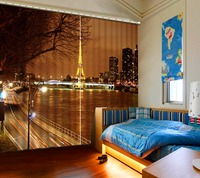 3D Blackout Curtain Photo Tower City Lights Night Curtains Roman Pillar Peacock Living room Bedding room Hotel Drapes Cortinas