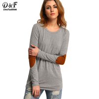 Dotfashion Female Elbow Patch Loose Tee Shirt 2017 Autumn Round Neck Casual Top Women Color Block