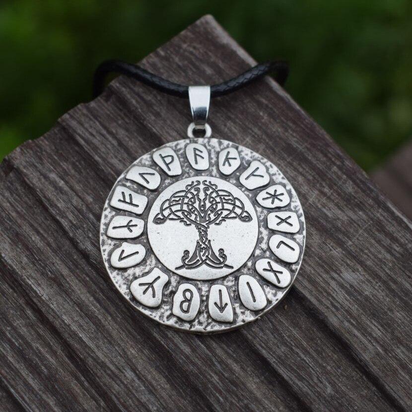 Retro Necklace Norse Viking Cross Nordic Pendant Tree Of Life Jewelry Charm Gift