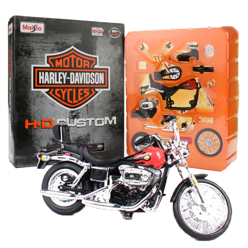 1:18 Maisto Harley Motorcycle Toy, Die Cast + ABS DIY Assembled Toy Car, 1980 FXWG Wide Glide Model Motor, Kids Toys, Brinquedos