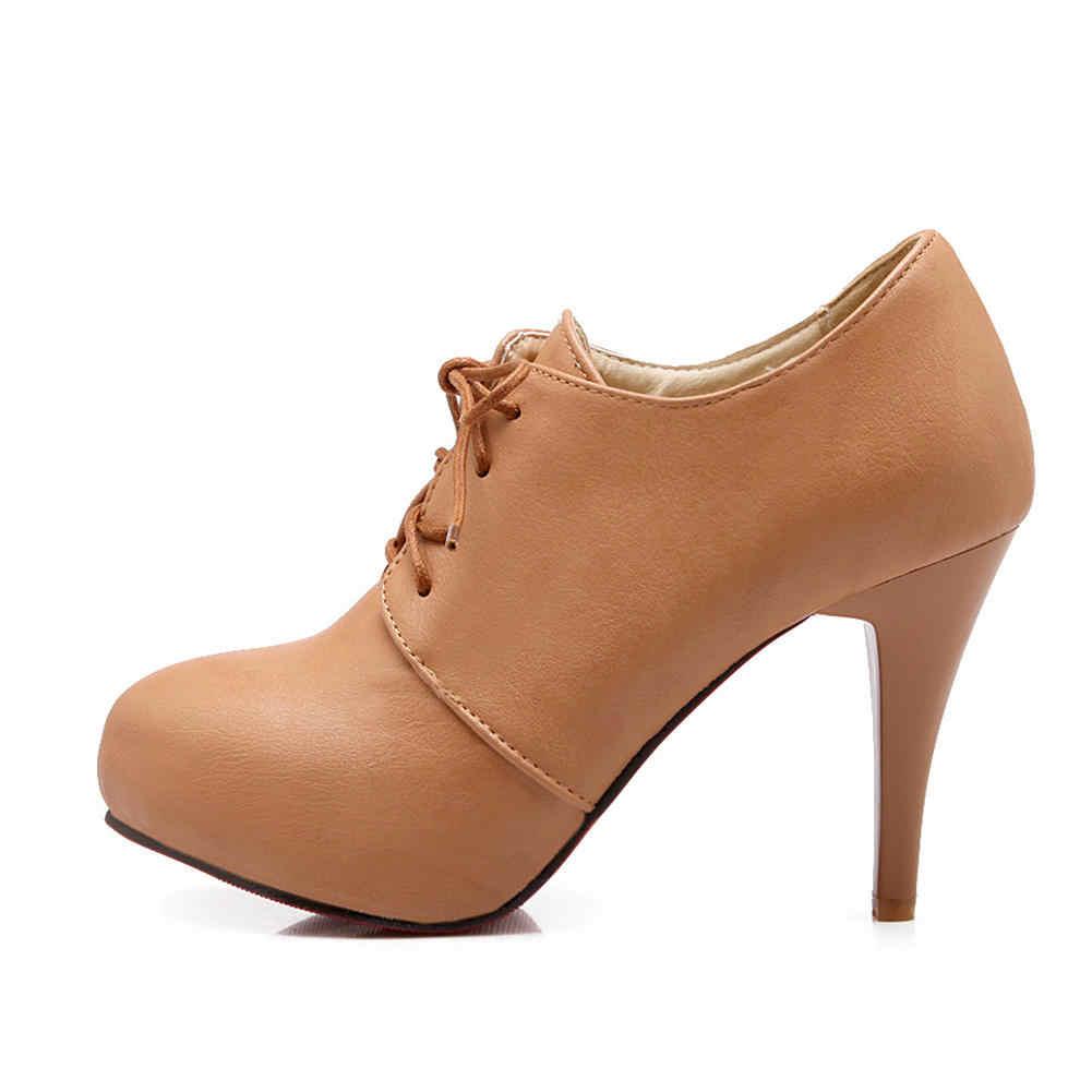 Karinluna สินค้าใหม่แพลตฟอร์ม Lace Up Elegant รองเท้าผู้หญิงรองเท้ารองเท้าส้นสูงหญิงรองเท้าข้อเท้ารองเท้าผู้หญิงรองเท้ารองเท้า