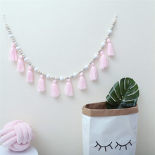 1.5M Wooden Beads Tassel Garland INS Nordic Style Kids Room Decoration Hanging Ornaments Nursery Baby Tent Photography Props