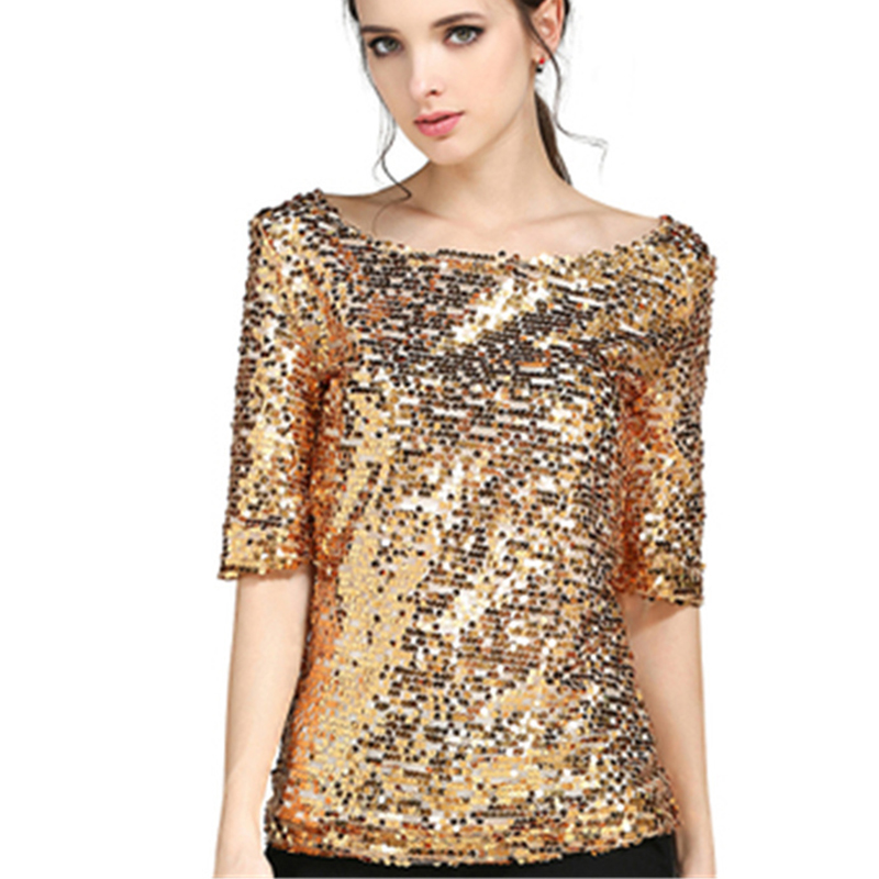 Women Blouses Summer Fashion Sexy Sequined Embroidered Half Sleeve Lady Tops Loose Casual Shirt Gold Blusas Plus Size 5XL New